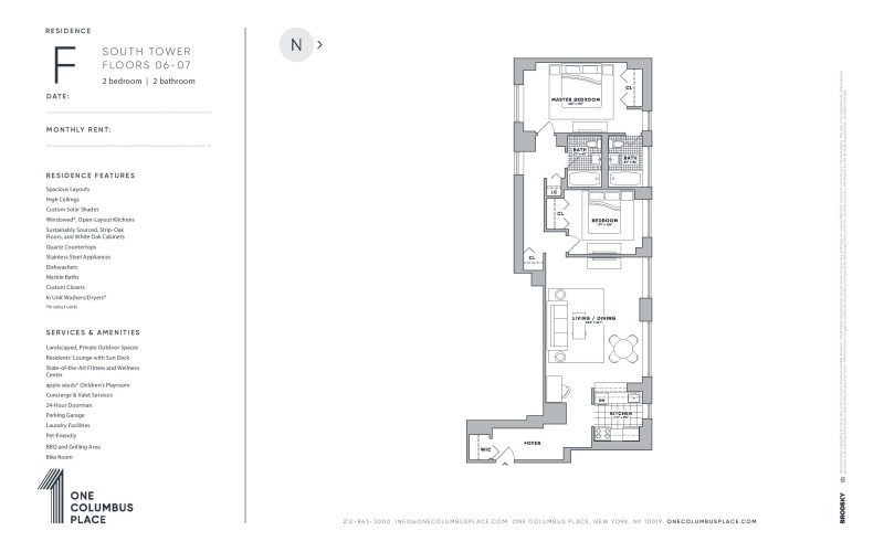 One Columbus Place - F - New Renovation (South Tower)  6-7
